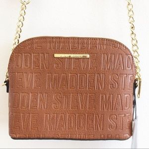 NWT STEVE MADDEN Crossbody Logo Bag in Cognac